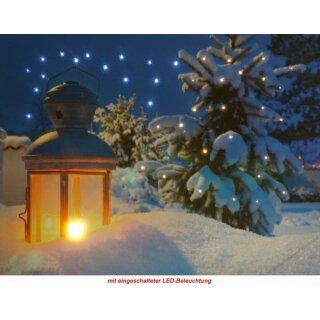 LED Bild Laterne im Schnee
