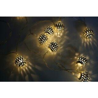 Lichterkette Oriental silber 10 Kugeln LED batteriebetrieb
