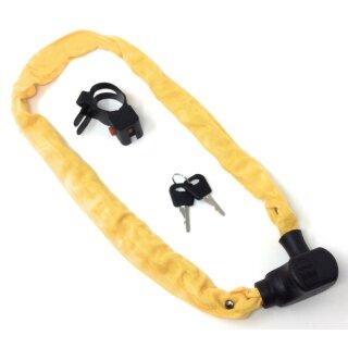 Kettenschloss gelb 100 cm mit Schlüssel und Halterung