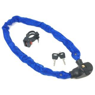 Kettenschloss blau 100 cm mit Schlüssel und Halterung