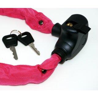 Kettenschloss 100 cm mit Schlüssel und Halterung rosa