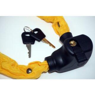 Kettenschloss 100 cm mit Schlüssel und Halterung gelb