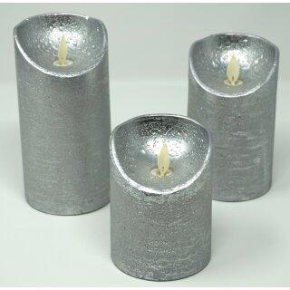3er Set LED Kerzen silber mit Fernbedienung