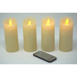 4er Set LED Kerzen weiß / elfenbein mit Fernbedienung
