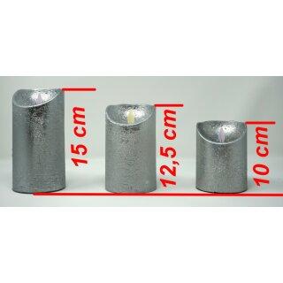 LED Stumpenkerze silber mit Timer + Einschaltautomatic