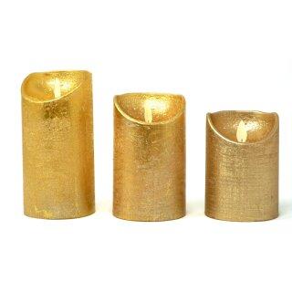 LED Stumpenkerze gold mit Timer + Einschaltautomatic