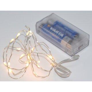 Lichterkette mit 20 Micro LED warmweiß 100 cm Silberdraht Batteriebetrieb