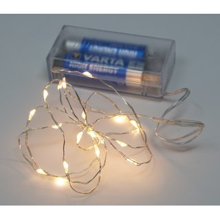 Deko Beleuchtung Draht Lichterkette 100 cm Timer 66 Micro LED warmweiß Batterie