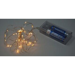 Lichterkette mit 40 Micro LED warmweiß 200 cm Timer Silberdraht Batteriebetrieb