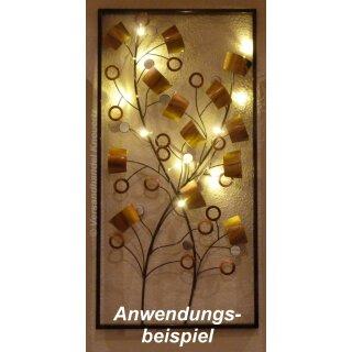 5x Lichterkette mit 40 Micro LED warmweiß 200 cm Timer Silberdraht Batteriebetrieb
