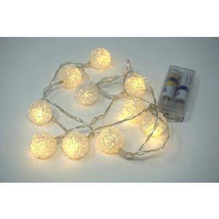 Lichterkette mit 10 LED Kristallkugeln warmweiß 100 cm Batteriebetrieb