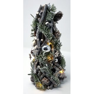 Adventsbaum mit Schnee, Weihnachtsdekoration und 10 LEDs