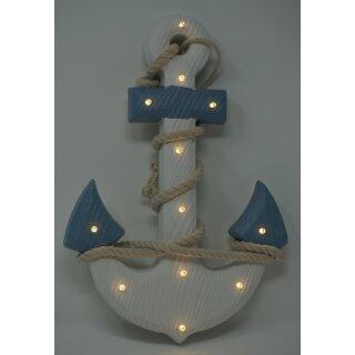 Holz Anker mit Seil und LED Beleuchtung