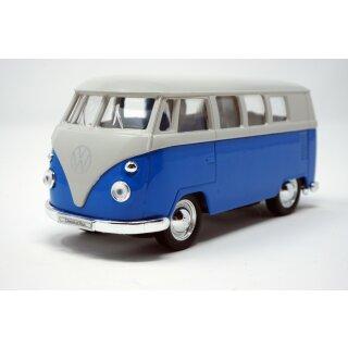 Modellauto VW T1 Bus 1963 mit Rückziehmotor blau / beige