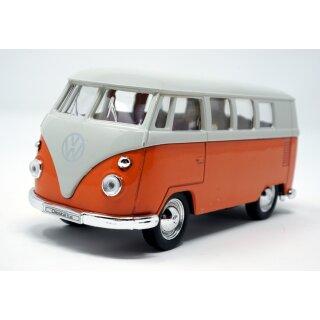 VW Bus T1  Bulli 1963 orange / beige Modellauto mit Rückziehmotor 12 cm