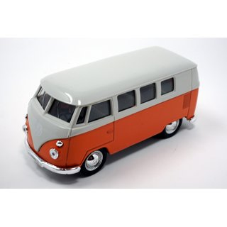 VW Bus Bulli T1 Volkswagen 1963  ca.12 cm Modellauto mit Rückziehmotor Automodell orange / beige