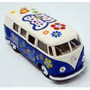 Modellauto VW T1 Bus Peace and Love 1962 blau / beige...