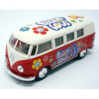 Modellauto VW T1 Bus Peace and Love 1962 rot / beige Rückziehmotor