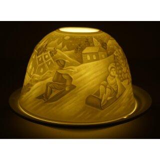 Dome Light Schlittenfahrt Teelicht Windlicht Rodeln Winter Schlitten Kinder