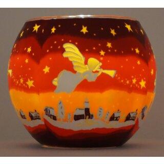 Leuchtglas Engel Teelicht Windlicht Angel Putte Weihnachten