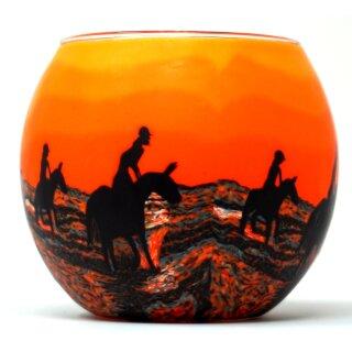 Leuchtglas Windlicht Pferde im Sonnenuntergang
