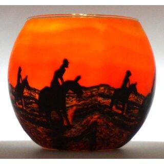 Leuchtglas Pferde im Sonnenuntergang Teelicht Windlicht Pferd Reiter
