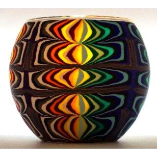 Leuchtglas Fantasy Teelicht Windlicht buntes farbiges Muster