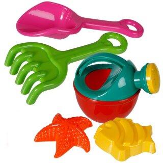 Sandspielzeug Set mit Gießkanne Schaufel Harke und Förmchen