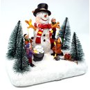Advent Deko Schneemann mit Kinder 10 LED Lichterkette...