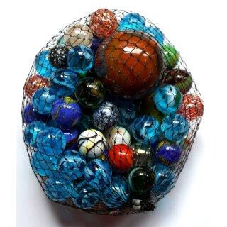 Glas Murmeln 500g im Netz Mehrfarbig sortiert