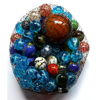 500g Glas Murmeln Mehrfarbig sortiert im Netz verschiedene Größen Knicker