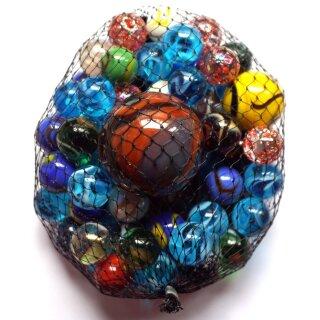 500g verschiedene Größen Glas Knicker Mehrfarbig sortiert im Netz Murmeln