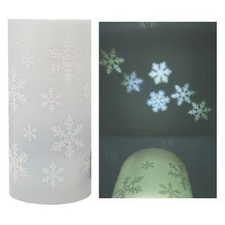 LED Projektions Kerze Schneefllocke Batterie / USB - Decken Projektion Sterne