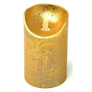 LED echtwachs Stumpenkerze gold Einschaltautomatic + Timer Kerze 10 cm