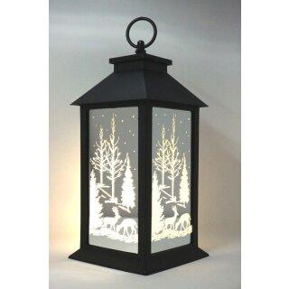 Outdoor Laterne Winterwald mit Timer und LED Beleuchtung
