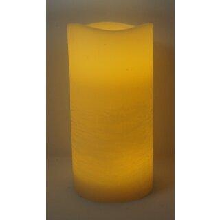 LED echtwachs Kerze Media ceme Ø 10 cm Höhe 30 cm mit 4/8 Stunden Timer