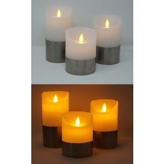3er Set LED Kerzen weiß mit Silberring , realer Flammenoptik und Fernbedienung