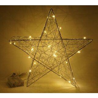 LED Stern 30 cm Metall silber Timer Deko Leuchtstern mt 25 LED Lichterkette