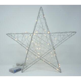 LED Stern 40 cm Metall silber Timer Deko Leuchtstern mt 35 LED Lichterkette