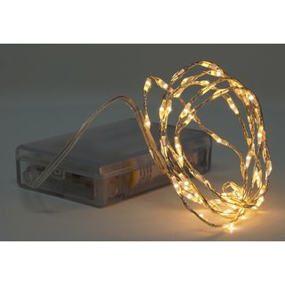 Lichterkette mit 66 Micro LED warmweiß 100 cm Timer Batteriebetrieb