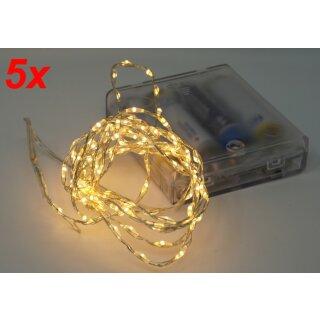 5x Lichterkette mit 132 Micro LED warmweiß 200 cm Timer Batteriebetrieb