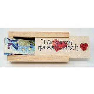 Geldgeschenkbox mit Schiebedeckel aus Holz Geld Geschenkverpackung Herzenswunsch