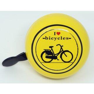 Ding Dong Fahrradklingel I Love Bicycles Ø 80 mm gelb