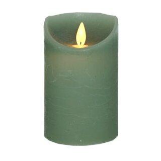 LED Stumpenkerze 12,5 cm JADE GRÜN mit Timer