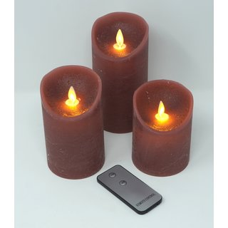 3er Set LED Kerzen ANTIK ROSA mit Fernbedienung