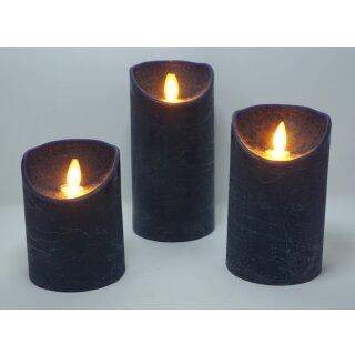 3er Set LED Kerzen ANTIK BLAU mit Fernbedienung