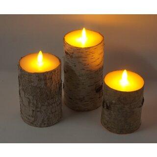 3er Set LED Kerzen Echtholzrinde BIRKE HELL mit Fernbedienung