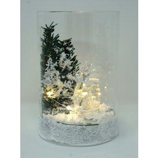 Leuchtglas FIERO small Reh im Wald mit LED Beleuchtung Einschaltautomatic und Timer