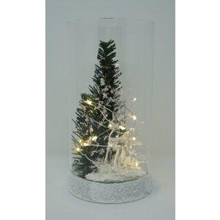 Leuchtglas FIERO medium Reh im Wald mit LED Beleuchtung Einschaltautomatic und Timer