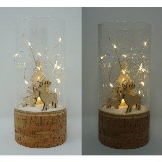 Leuchtglas LUCIR Reh im Wald mit LED Beleuchtung Einschaltautomatic und Timer